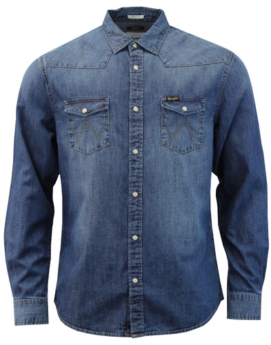 WRANGLER Retro 70s Mid Indigo Denim Western Shirt