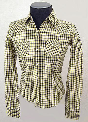 WOMENS RETRO INDIE CLOTHING CHECK SHIRT MOD 70s