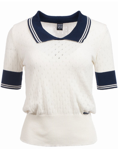 Kate MADEMOISELLE YEYE 60s Mod Perf Knit Polo Top