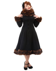 Collectif Pearl Faux Fur Womens Winter Coat Black