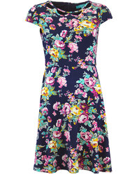 fever ava retro 60s mod floral cut out flare dress