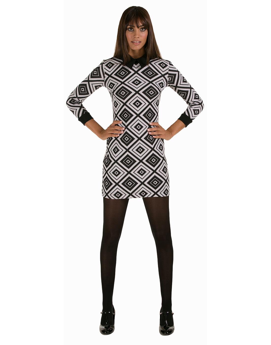 MARMALADE Retro Mod Diamond Pattern Collar Dress