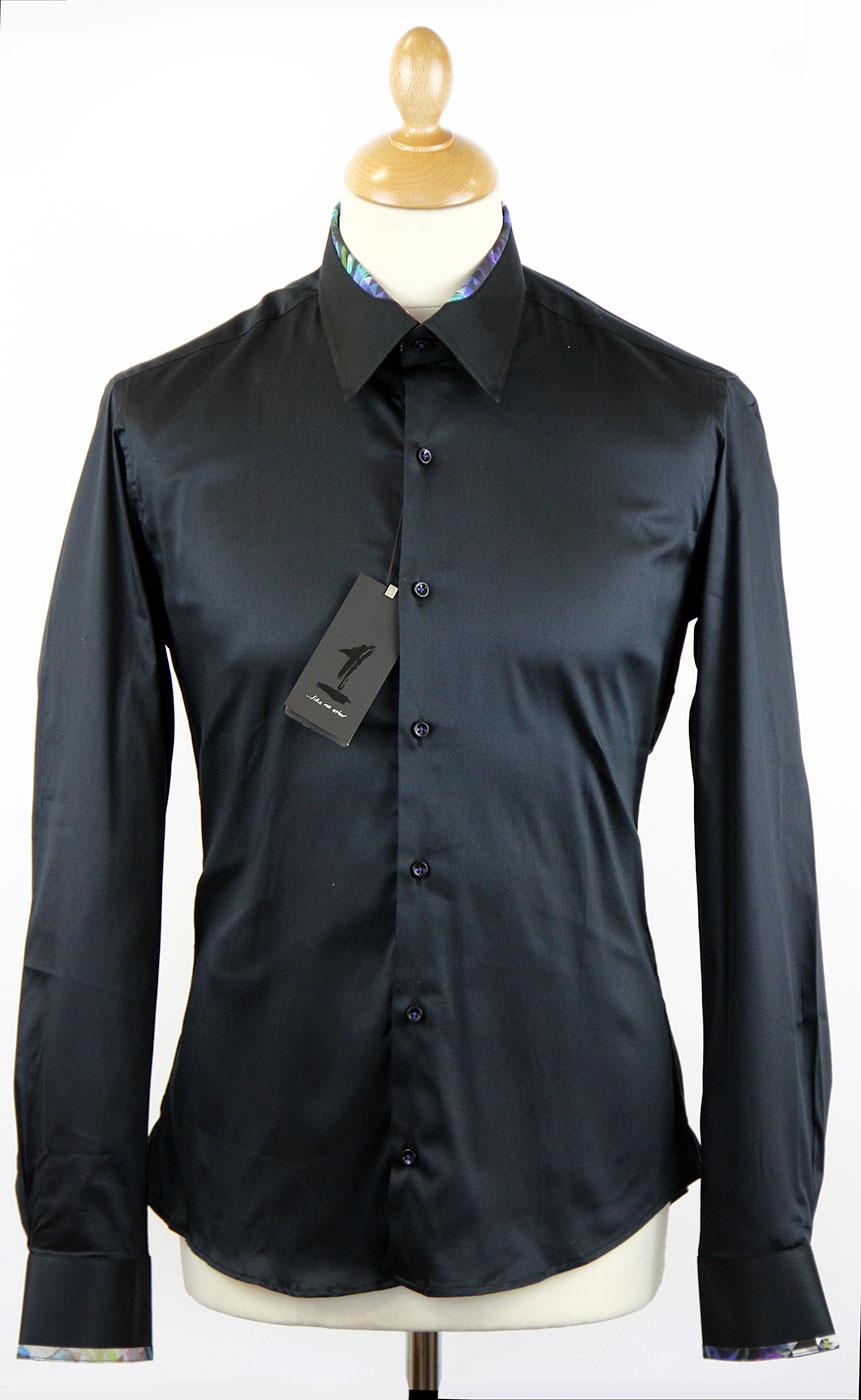 Bugle 1 LIKE NO OTHER Retro Mod Plain Black Shirt