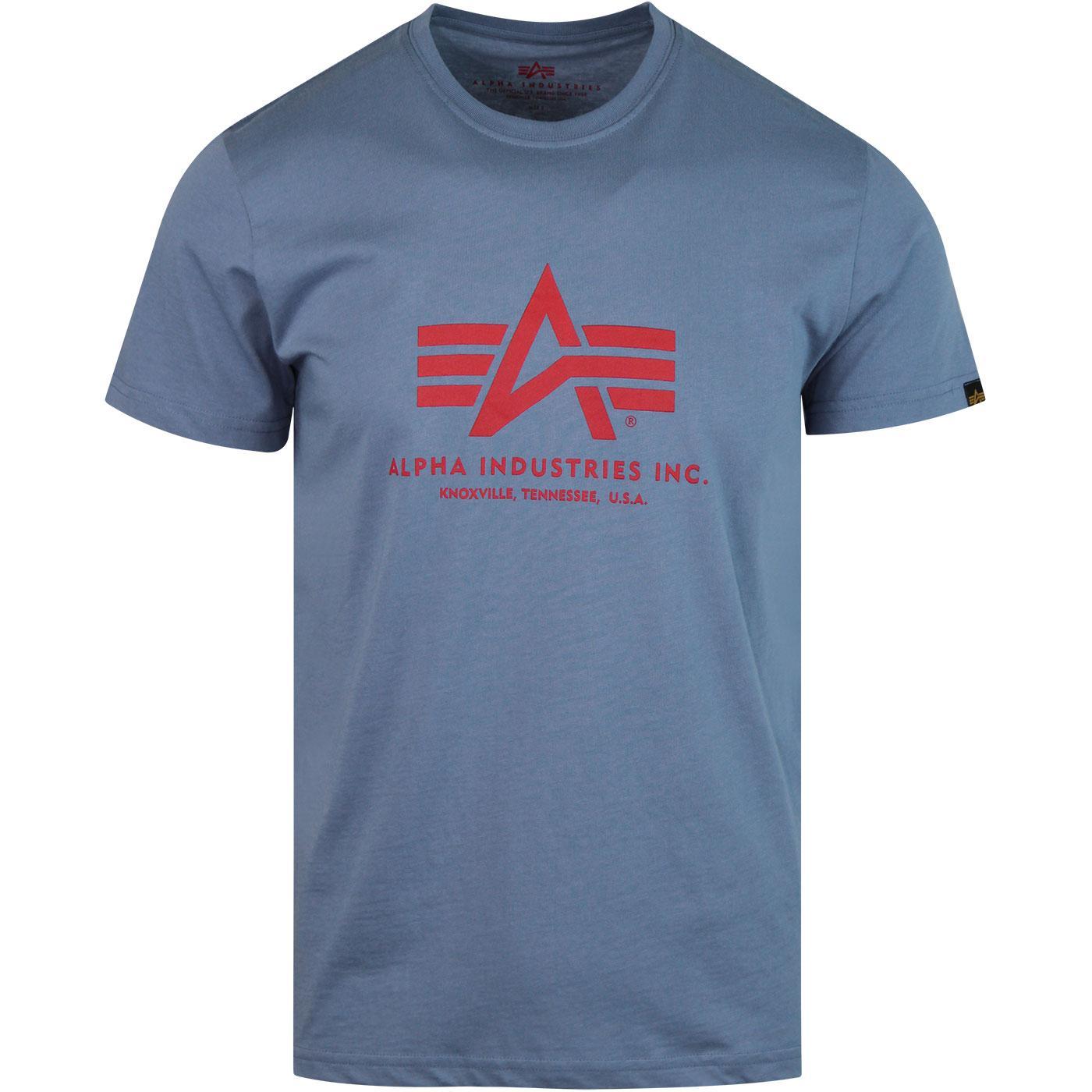 ALPHA INDUSTRIES Retro Basic Logo Tee Powder Blue