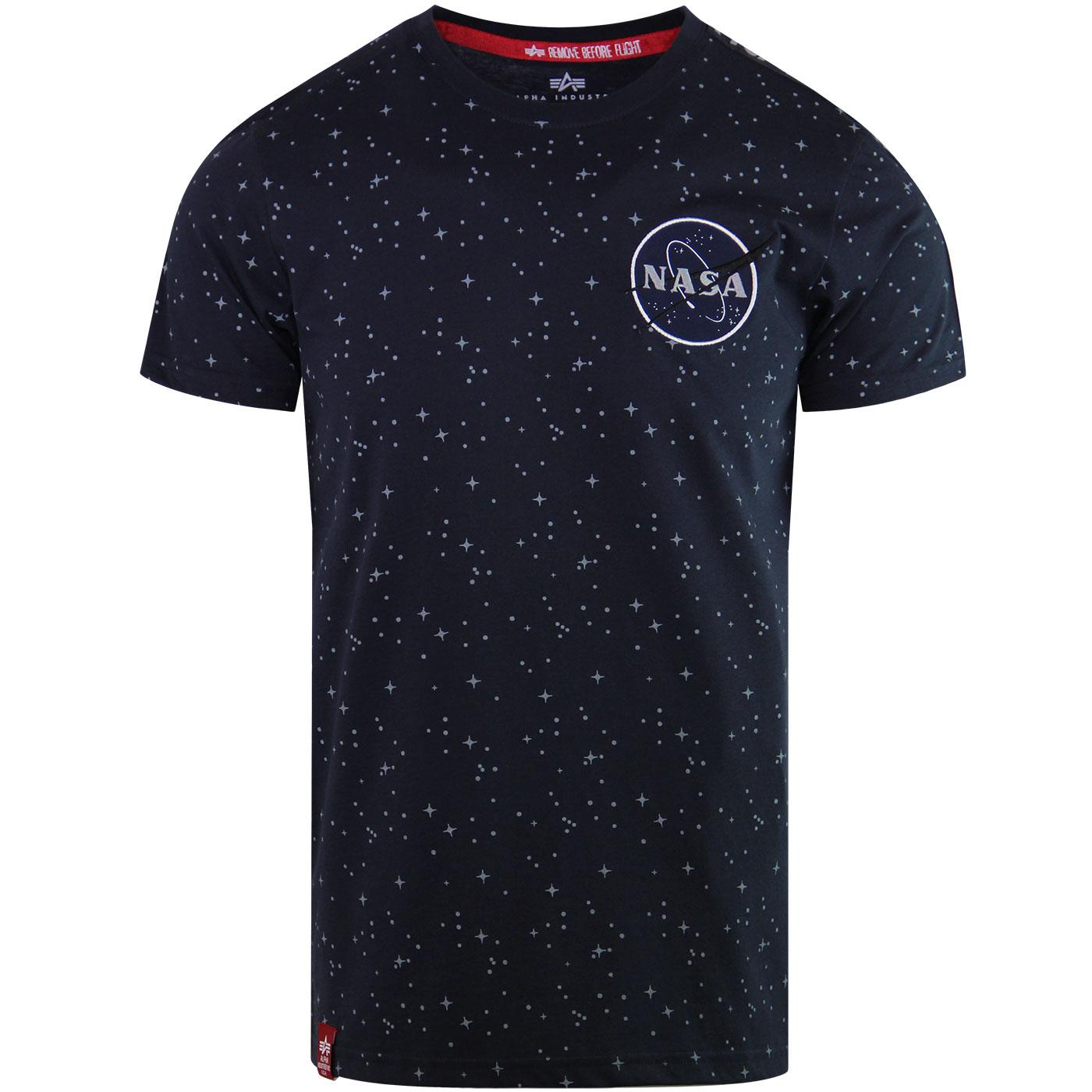 ALPHA INDUSTRIES NASA Starry Tape Retro Tee (Navy)