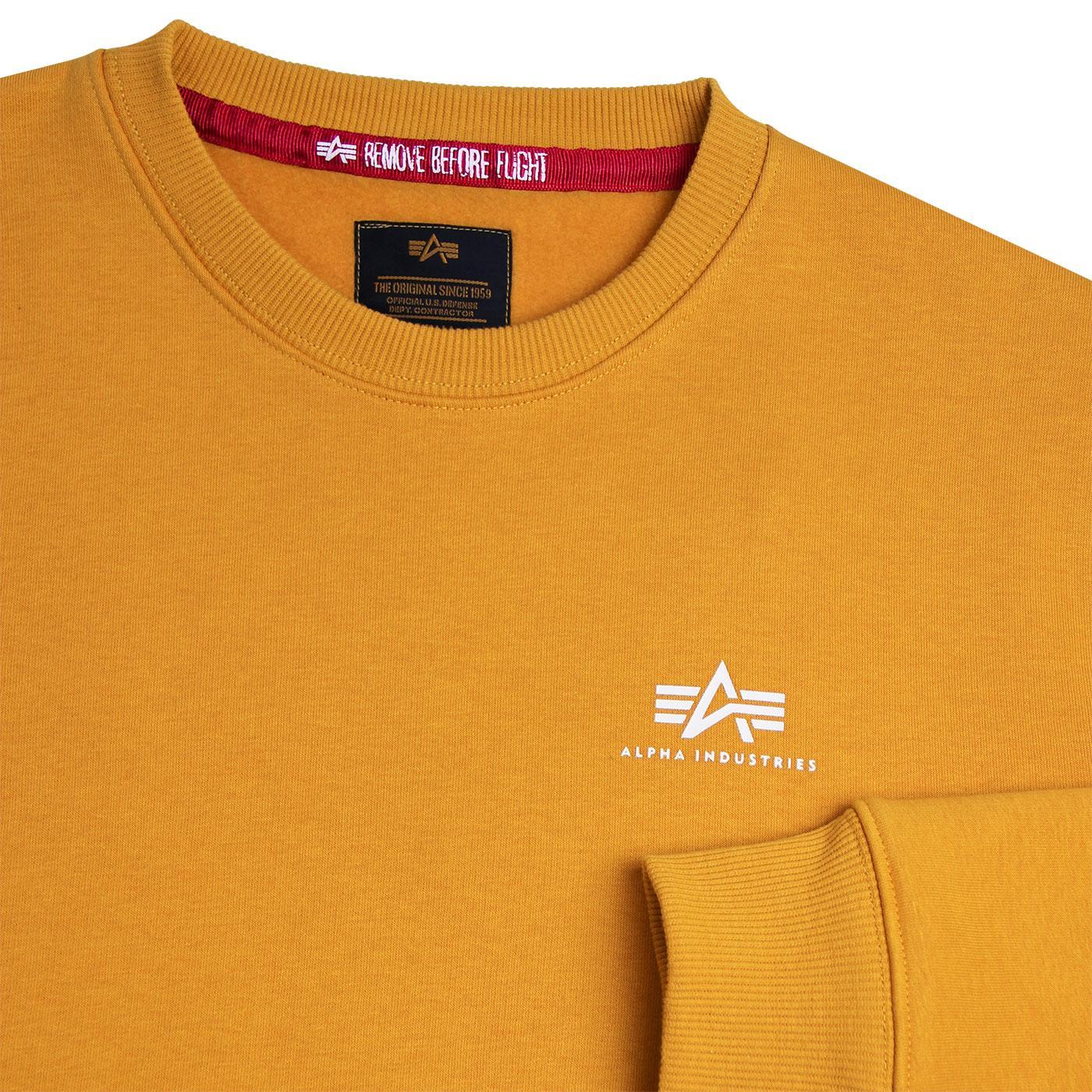 42e2c67c8 ALPHA INDUSTRIES Retro Basic Small Logo Sweater Wheat