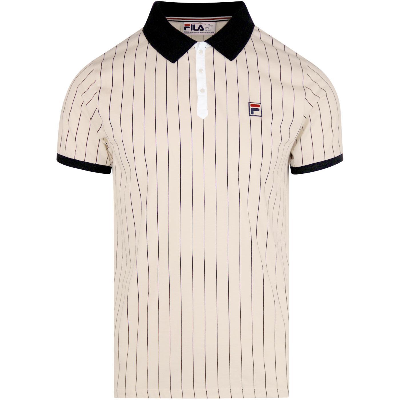 4fb38eb8c6a4e FILA VINTAGE BB1 Retro 70s Tennis Polo Shirt in Sand Dollar