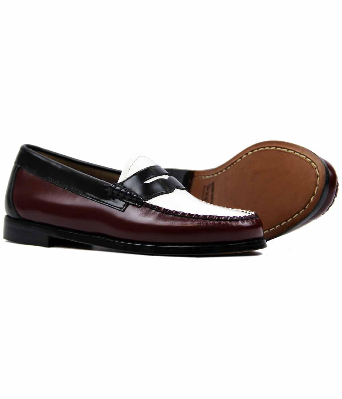 34766108b5a BASS WEEJUNS Womens Retro 60s Penny Loafers in Bordo Black White