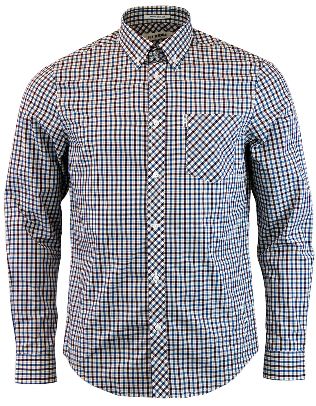 8555642f39 BEN SHERMAN 60s Mod Heritage House Check Shirt in Blue