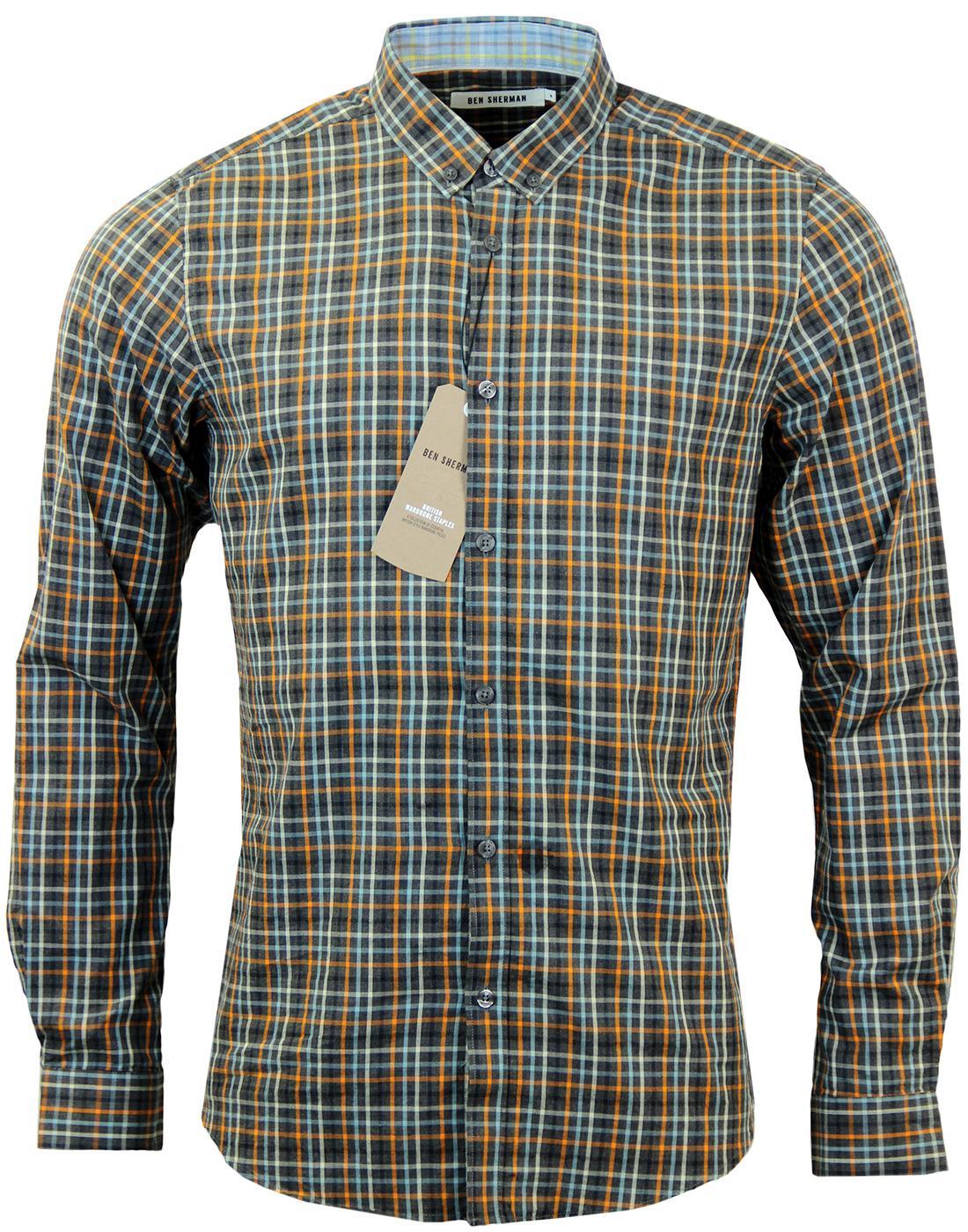 BEN SHERMAN Slub Multi Check Retro Mod Shirt