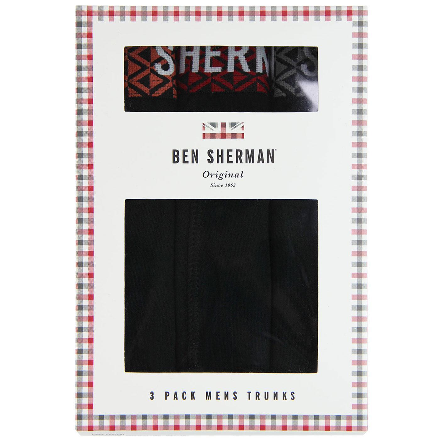 Beacon BEN SHERMAN 3 Pack Retro Trunks (Black)