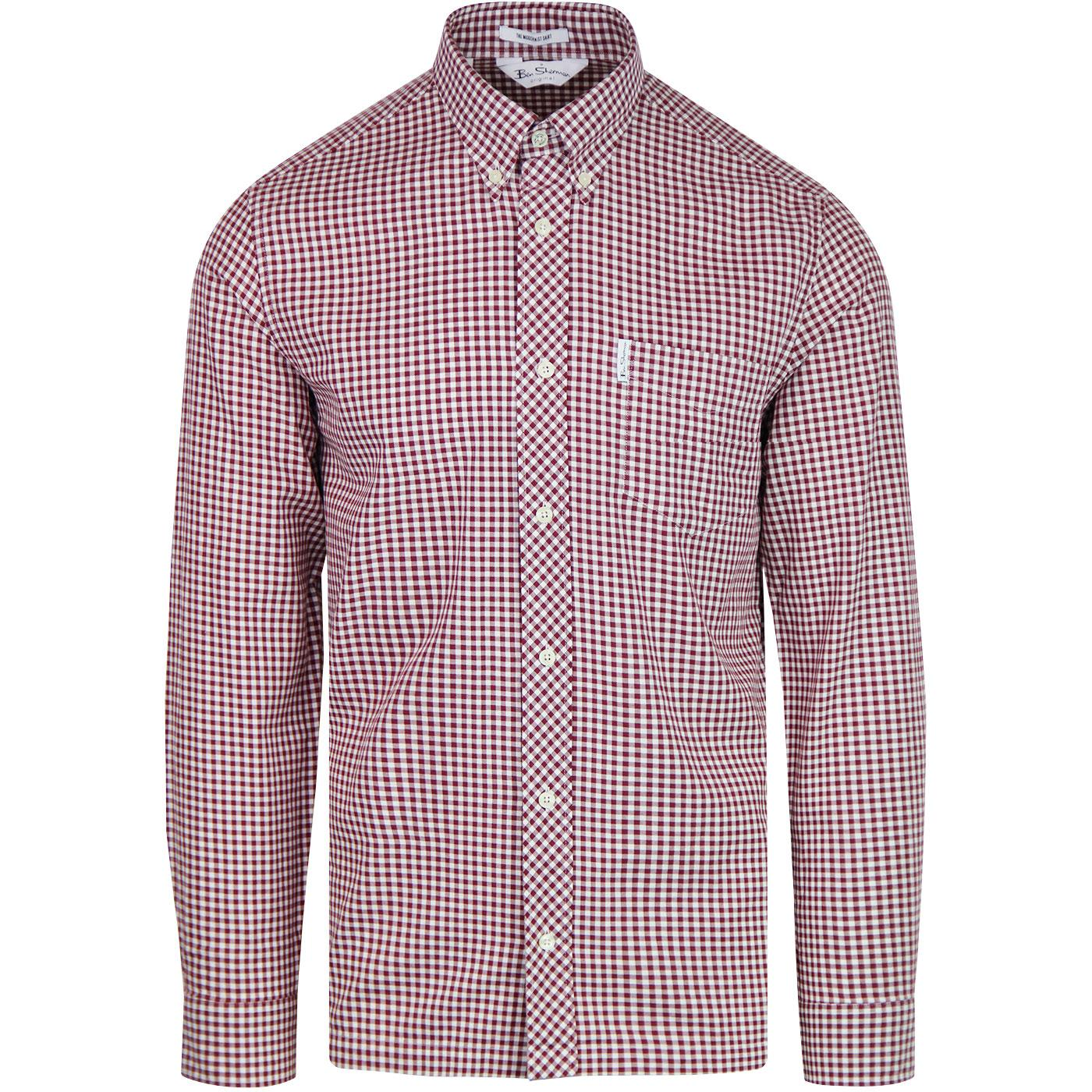 BEN SHERMAN Archive Modernist Check Shirt WINE
