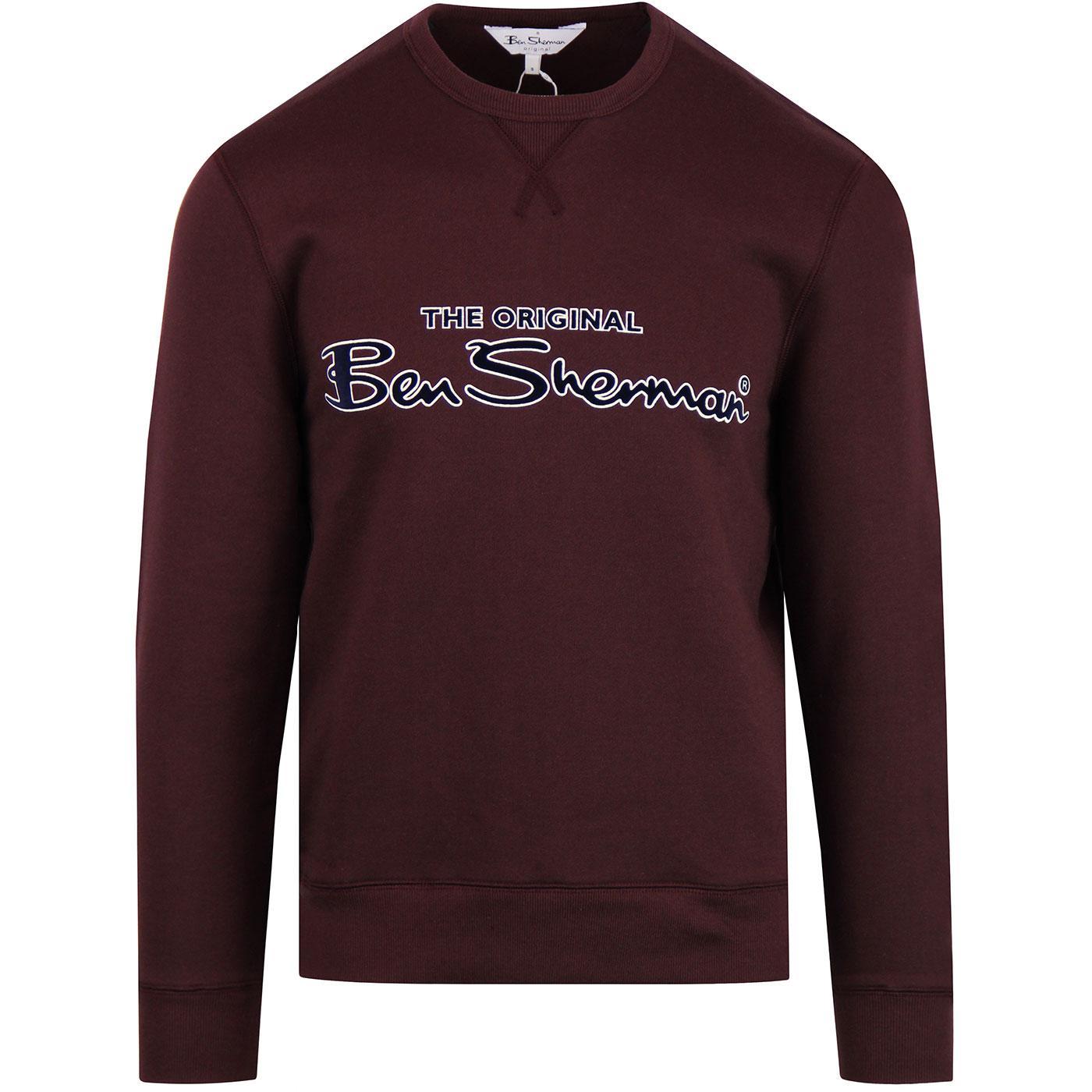 BEN SHERMAN Retro 90s Archive Sweatshirt DARK RED