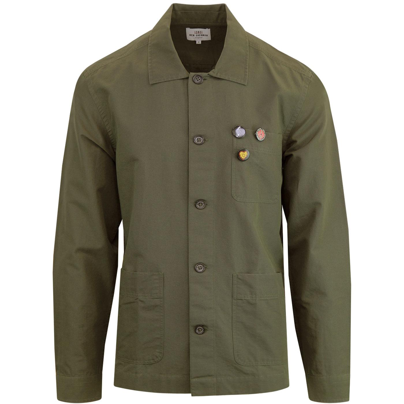 BEN SHERMAN Retro Mod Military Badged Overshirt DG