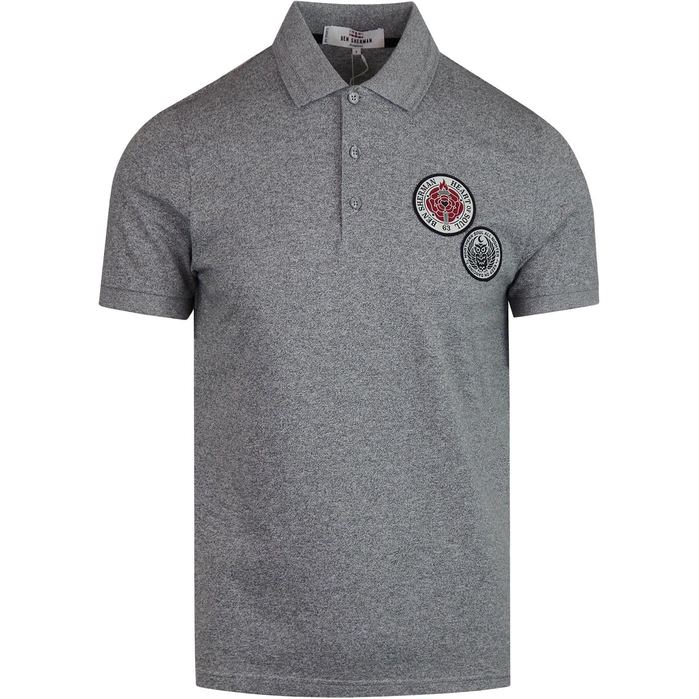 BEN SHERMAN Northern Soul Retro Badge Pique Polo