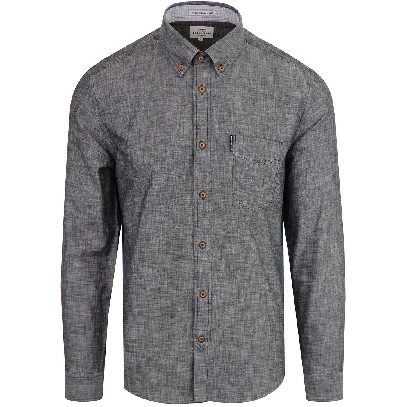 BEN SHERMAN Retro Button Down Chambray Shirt BLACK