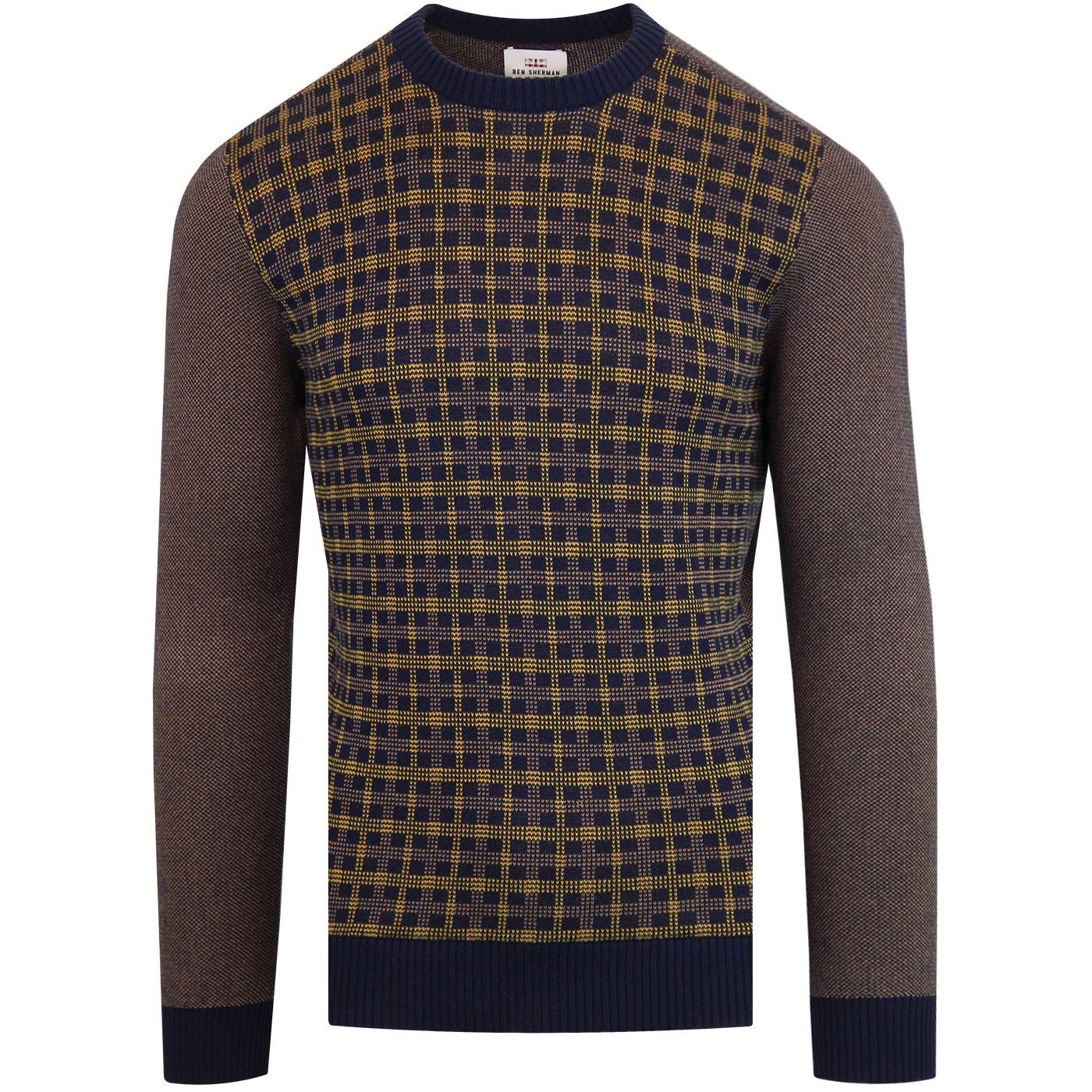 BEN SHERMAN Retro Birdseye Check Knitted Jumper