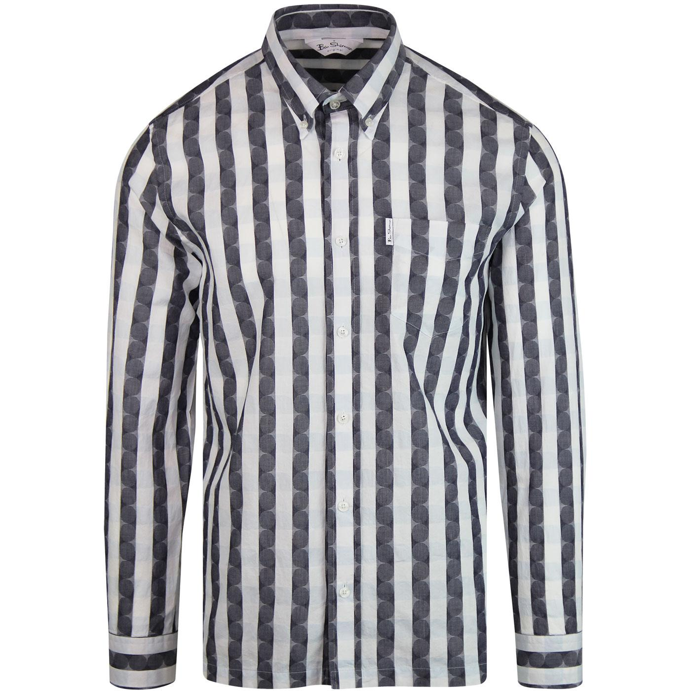 BEN SHERMAN Archive Dartmouth Check Geo Shirt NAVY