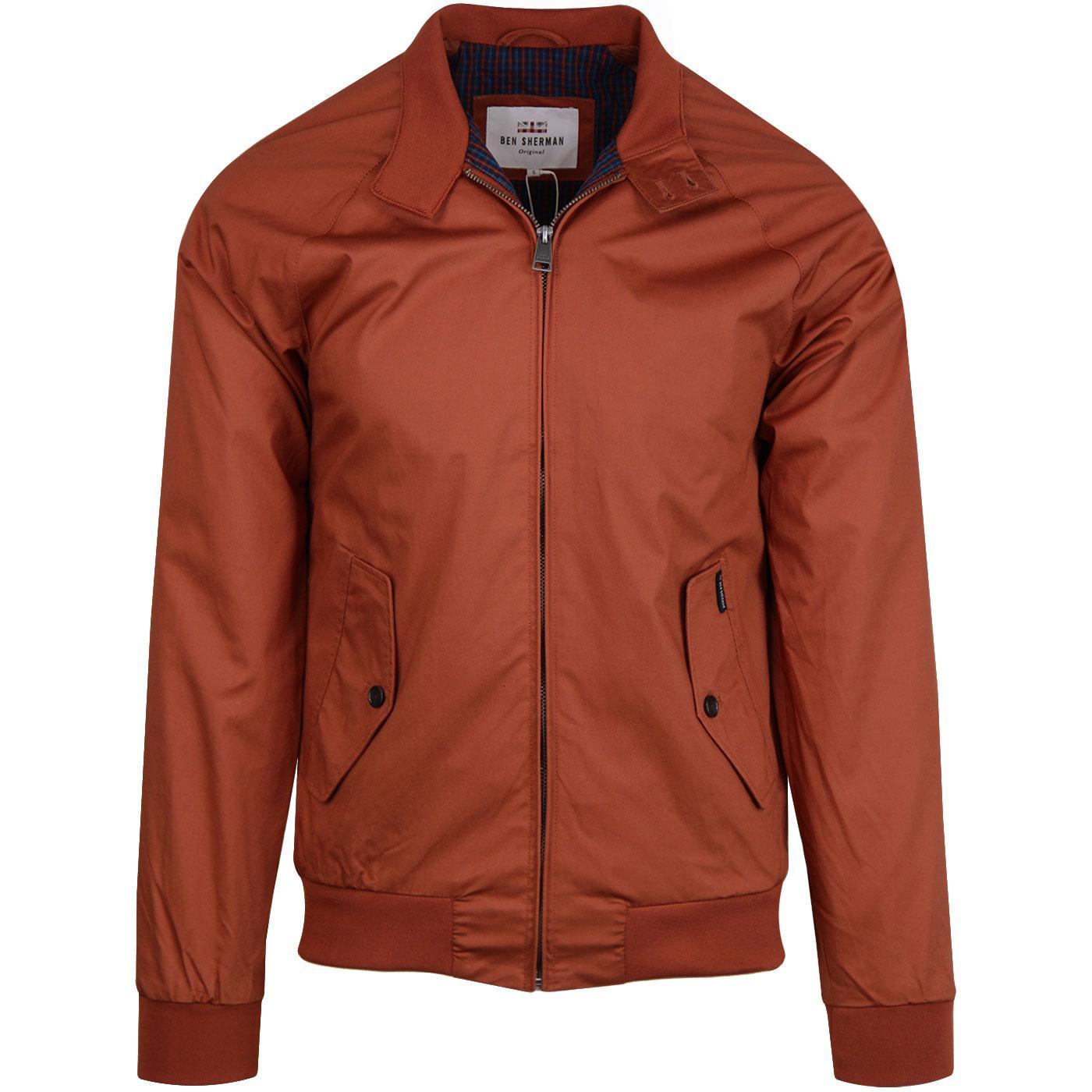b1cbd8ad3d23 BEN SHERMAN Retro 60s Mod Harrington Jacket in Cinnamon