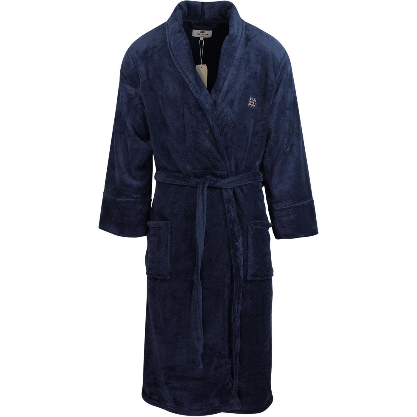 Henry BEN SHERMAN Men's Retro Bath Robe (Navy)