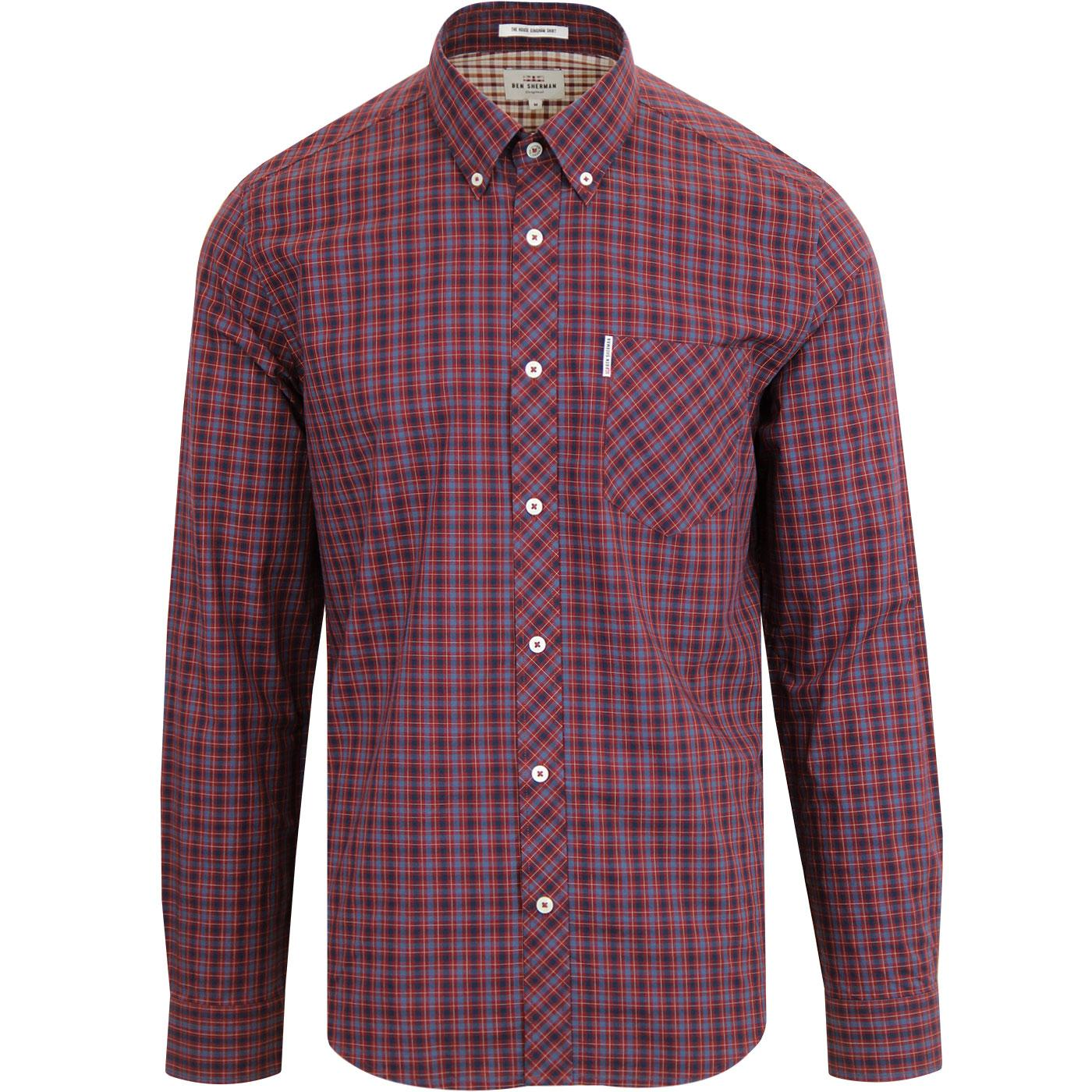 BEN SHERMAN Men's Retro Mod House Check Shirt RUST
