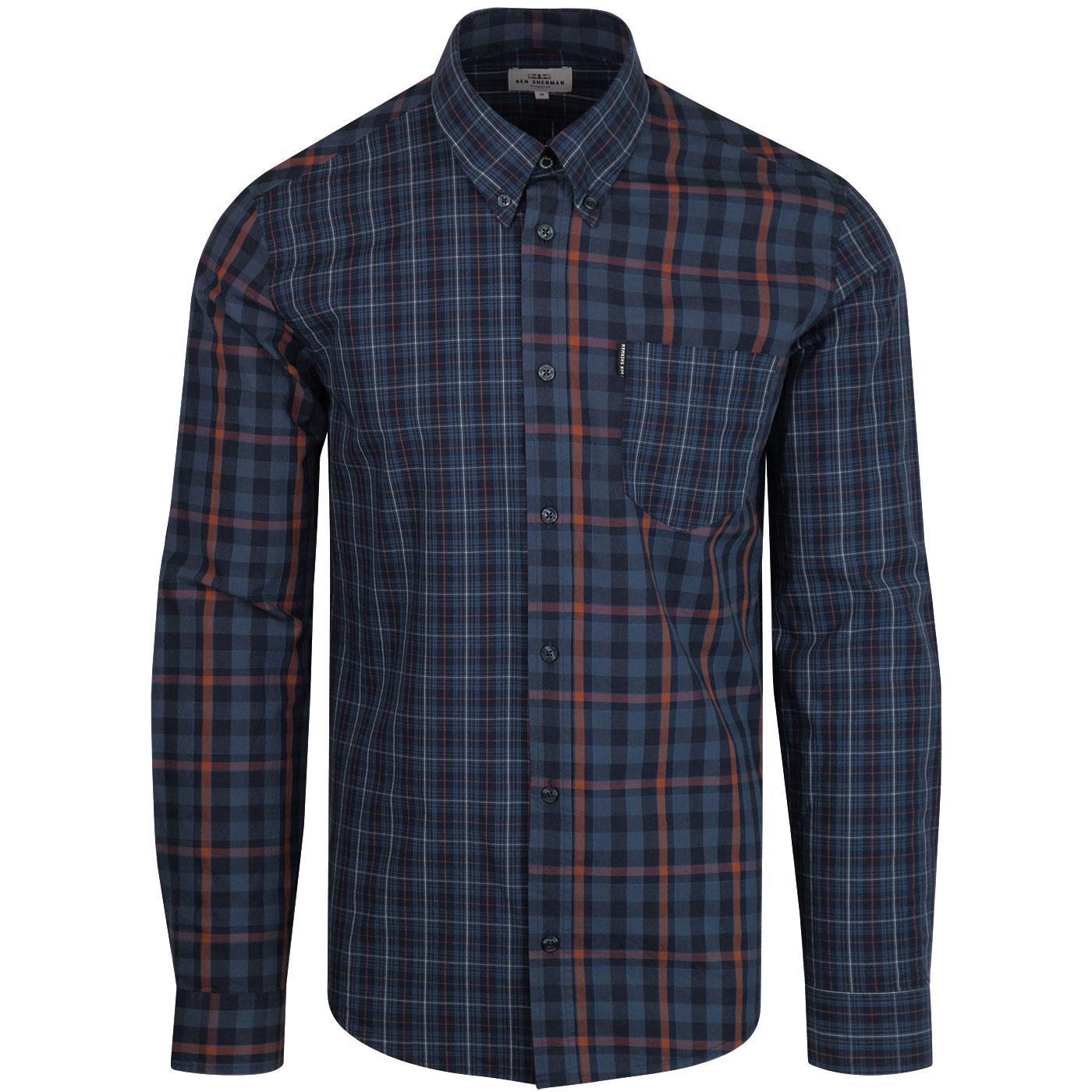 BEN SHERMAN Men's Retro Mixed Gingham Check Shirt
