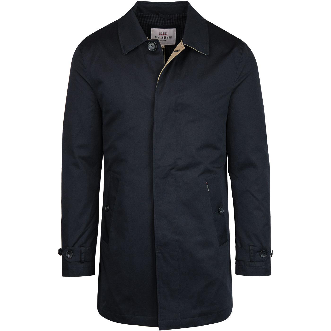 BEN SHERMAN Men's Retro Mod New Mac Coat (Navy)
