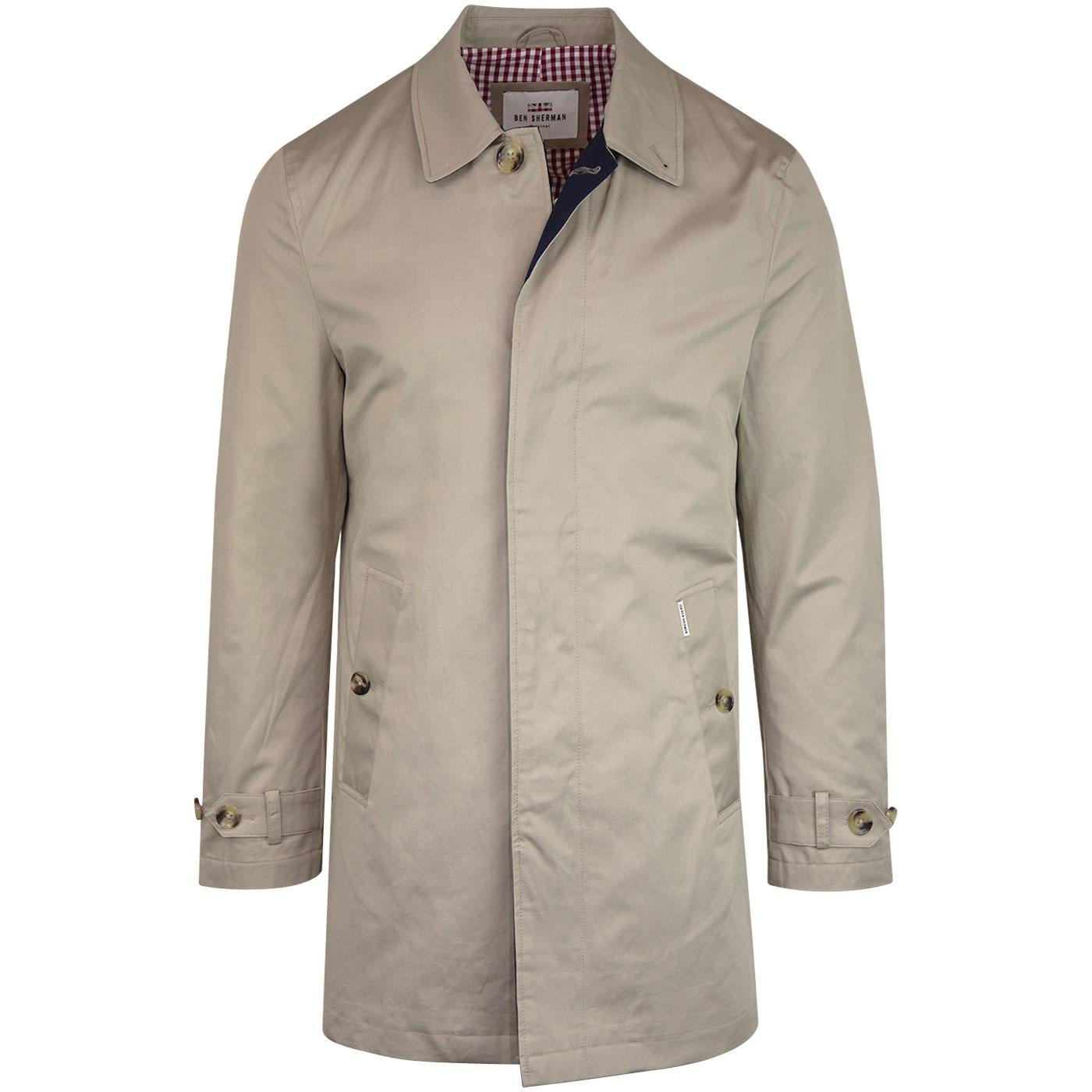 BEN SHERMAN Men's Retro Mod New Mac Coat (Stone)
