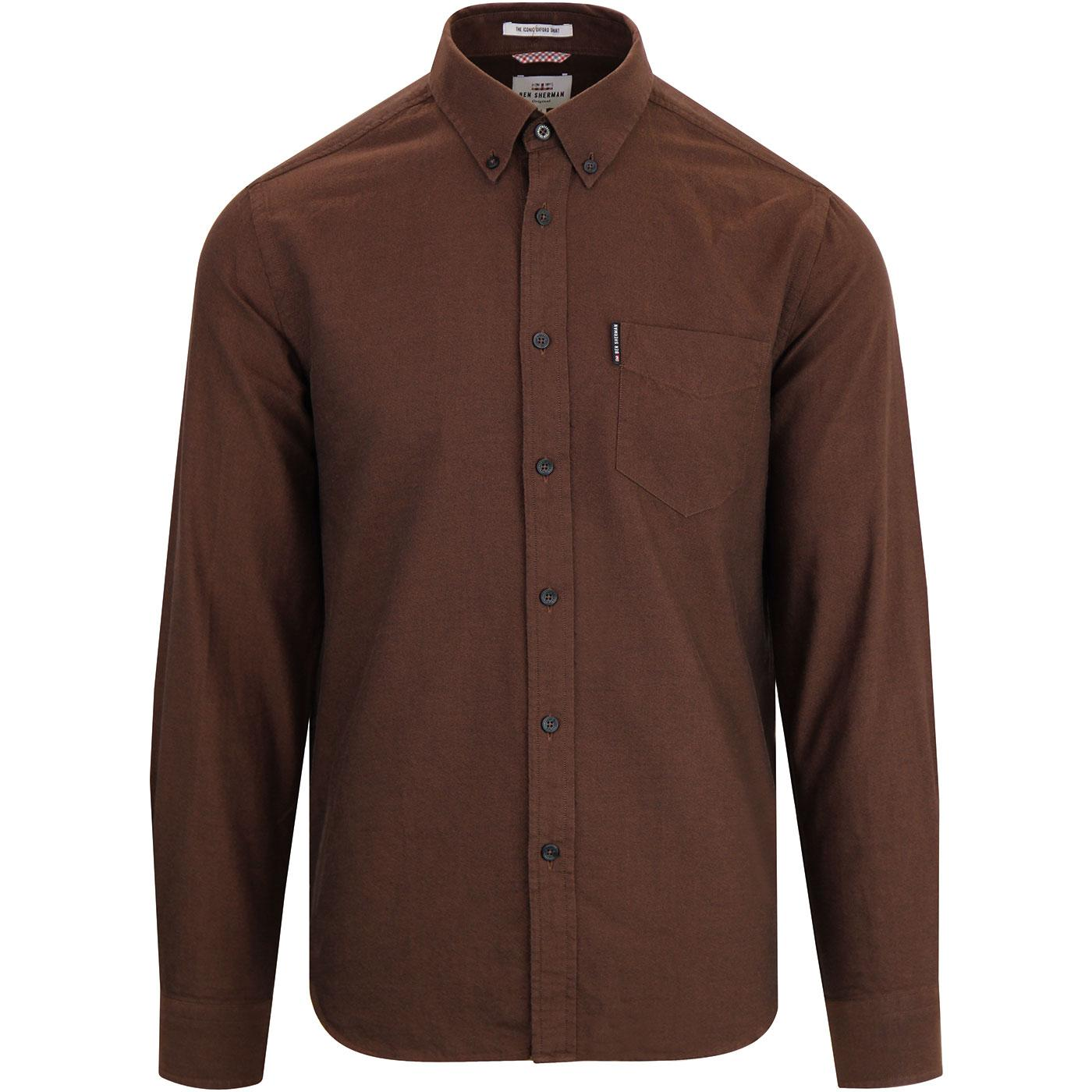 BEN SHERMAN Mod Button Down Oxford Shirt RUST