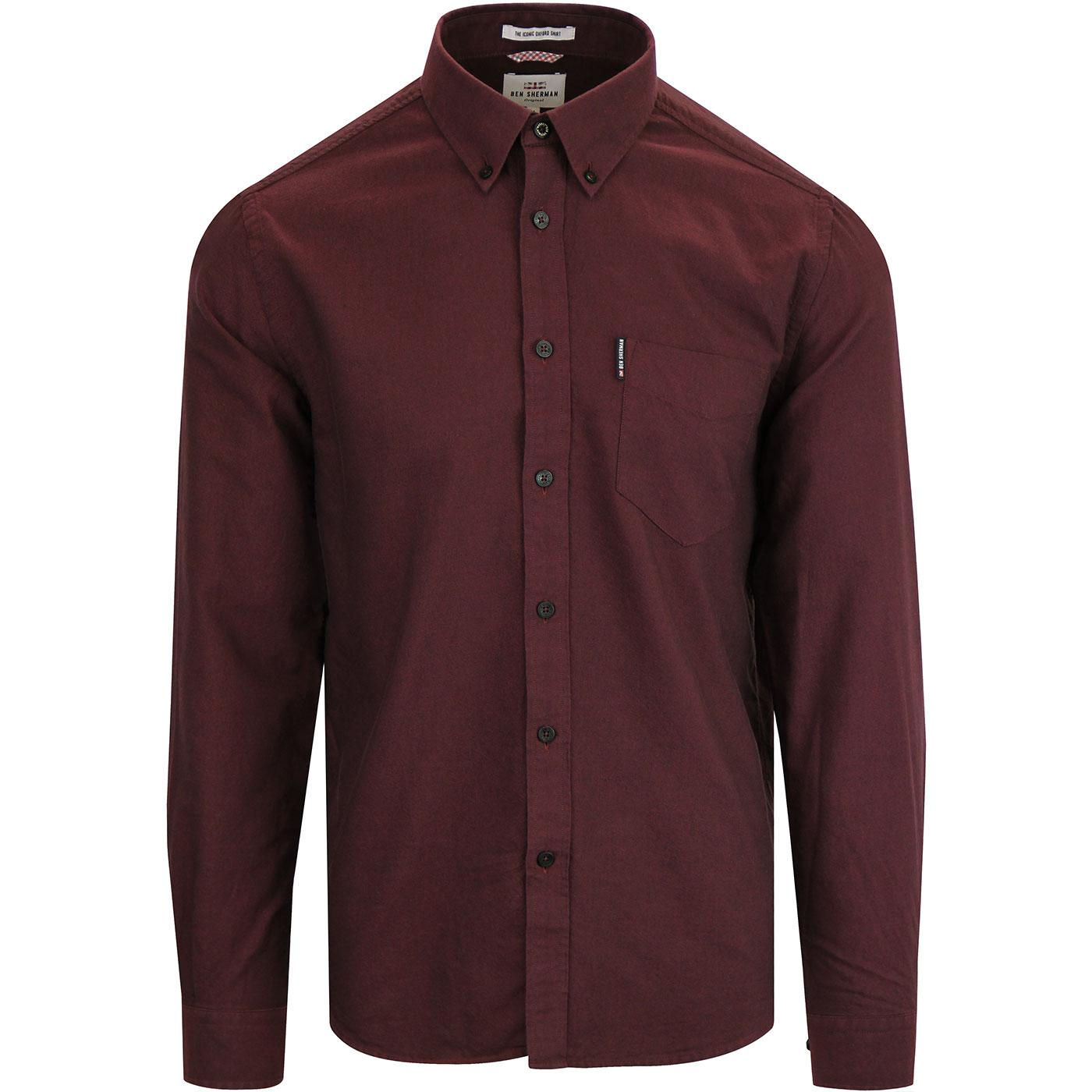 BEN SHERMAN Mod Button Down Oxford Shirt WINE