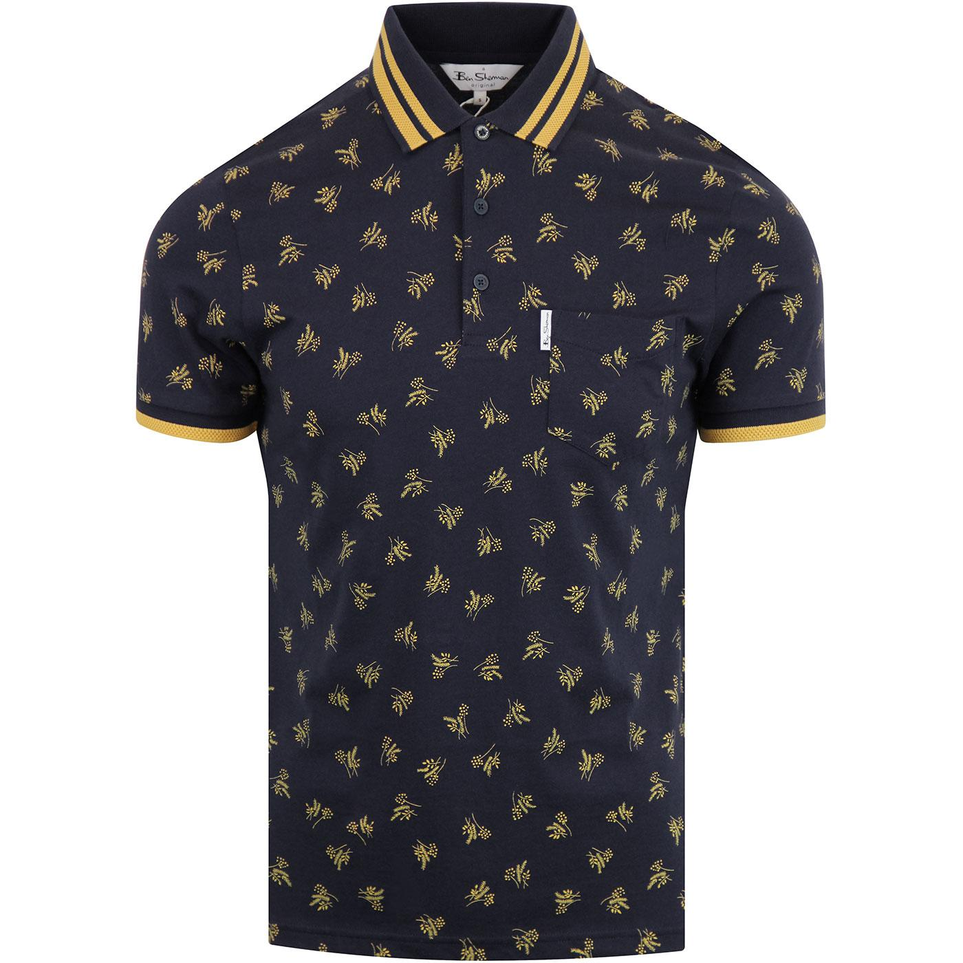 Ben Sherman Retro Mod Tipped Archive 70s Floral Polo Top