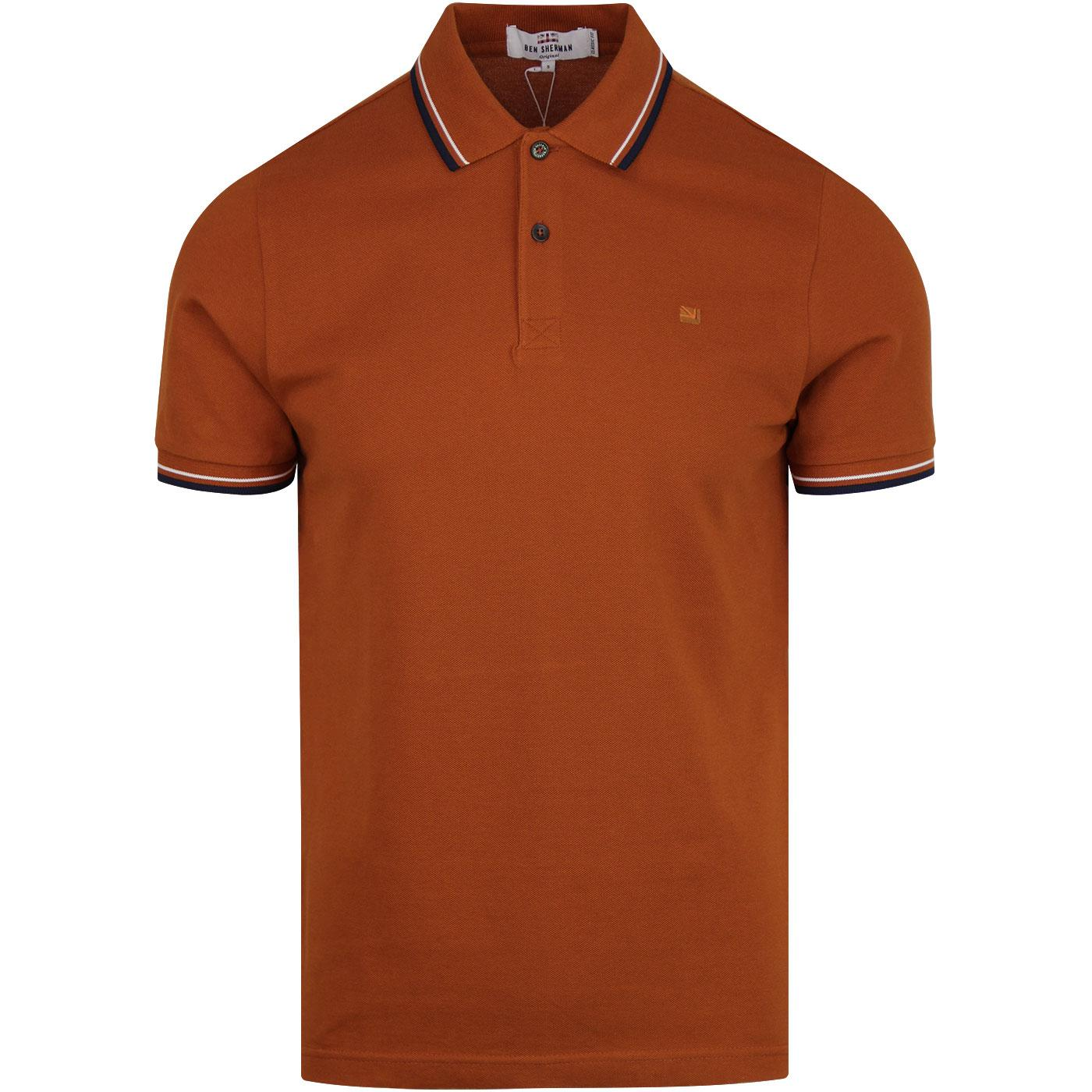 Romford BEN SHERMAN Mod Pique Polo Shirt (Ochre)
