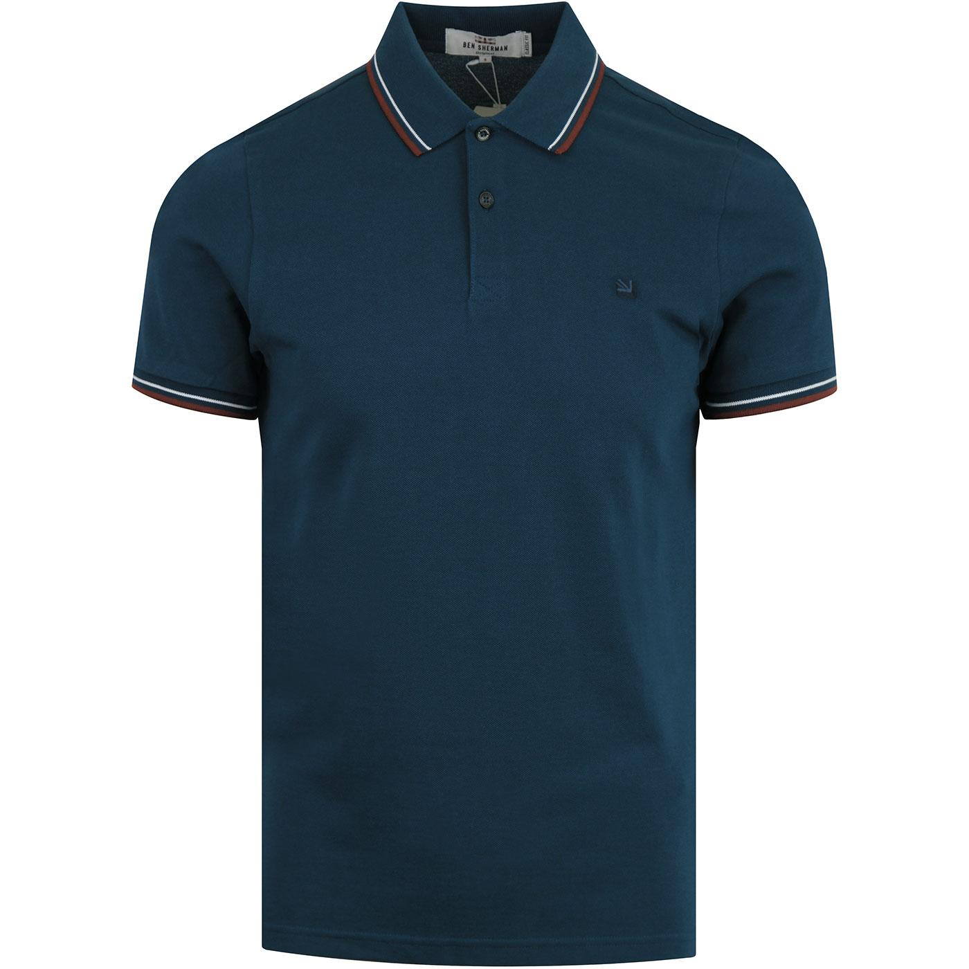 BEN SHERMAN Romford Mod Tipped Polo Top LAKE BLUE