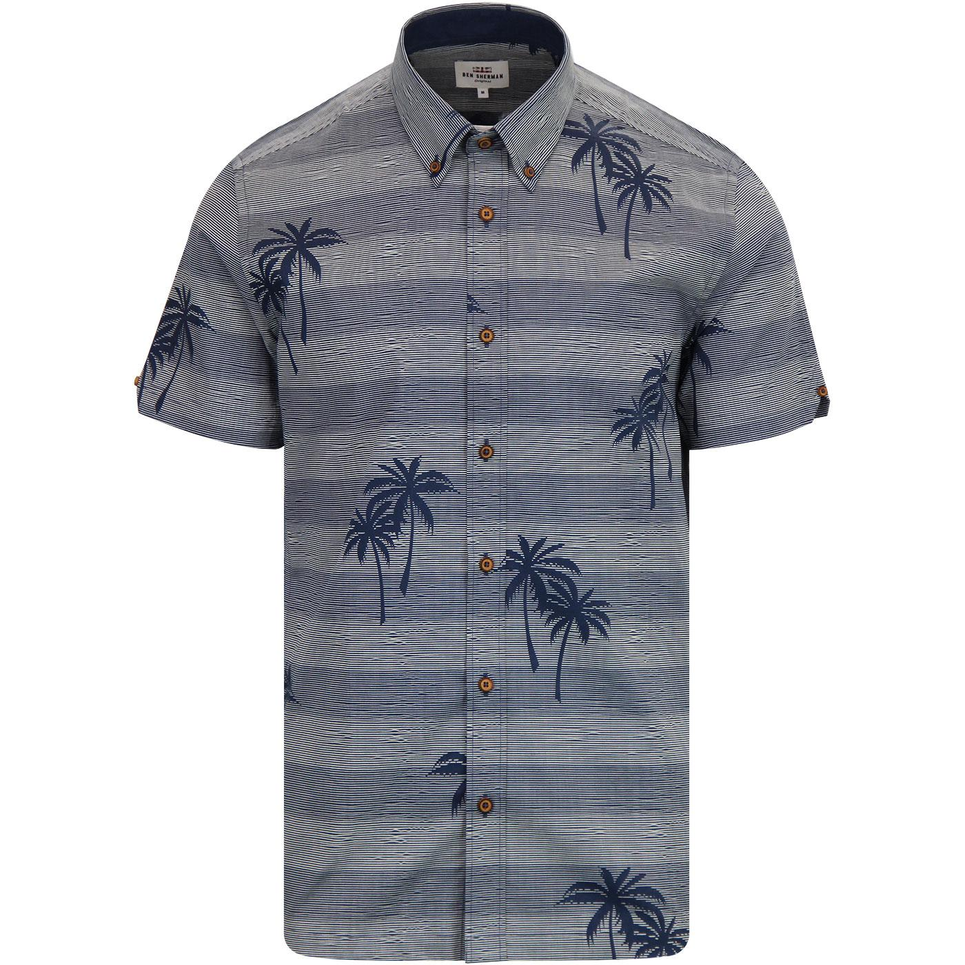 BEN SHERMAN Summer Retro Stripe Tropical Shirt