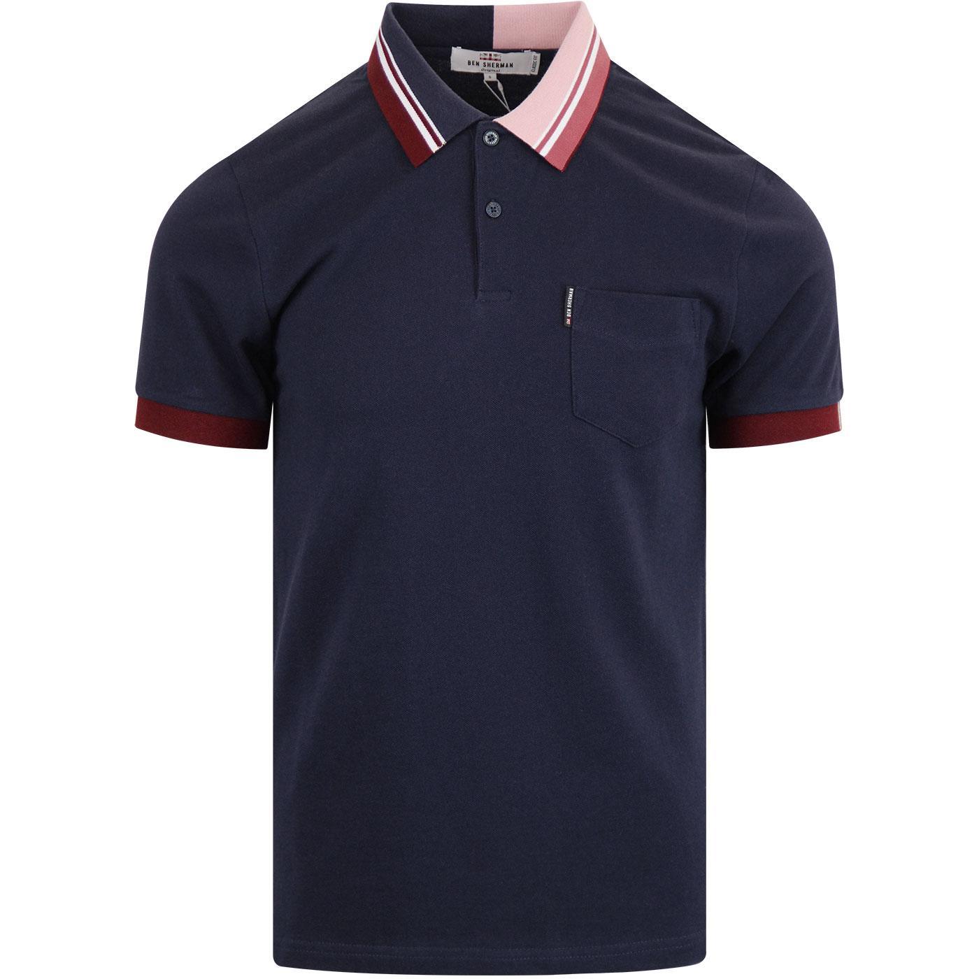 BEN SHERMAN Contrast Tipped Collar Mod Pique Polo
