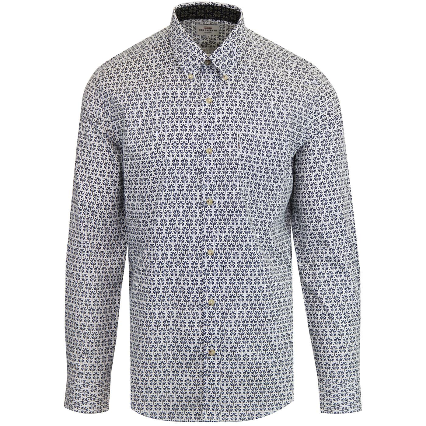 BEN SHERMAN Retro Mod Distressed Wallpaper Shirt W