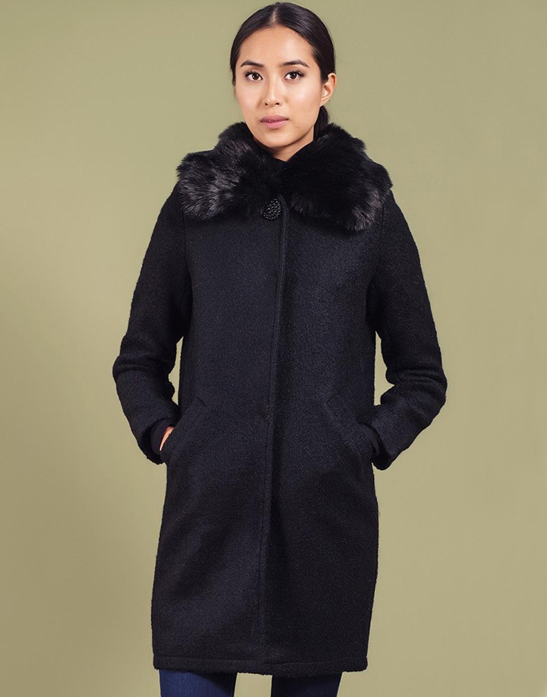 Maddie DARLING Retro Vintage Faux Fur Trim Coat