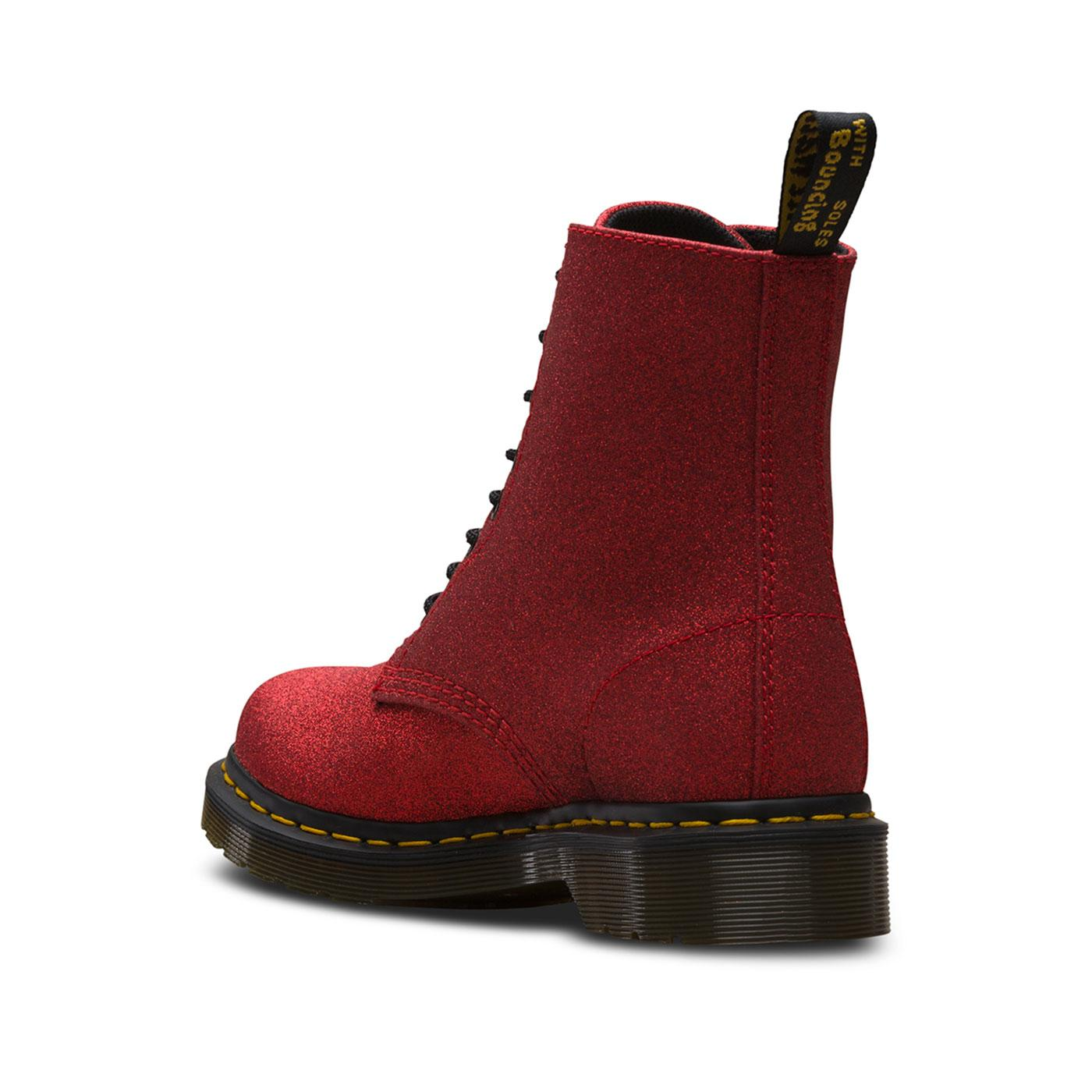 fb3ea8903420 DR MARTENS Pascal Glitter 1460 Fine Glitter Boots In Red