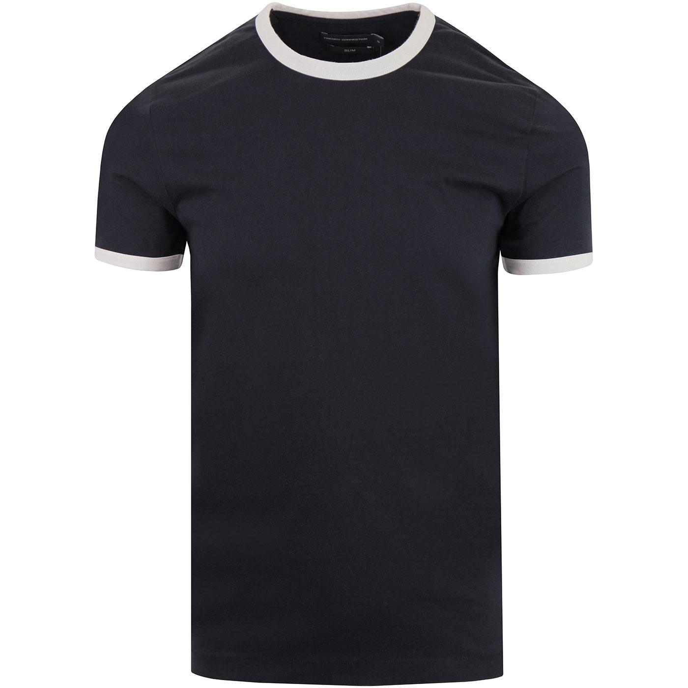 FRENCH CONNECTION Retro Mod Ringer T-shirt NAVY