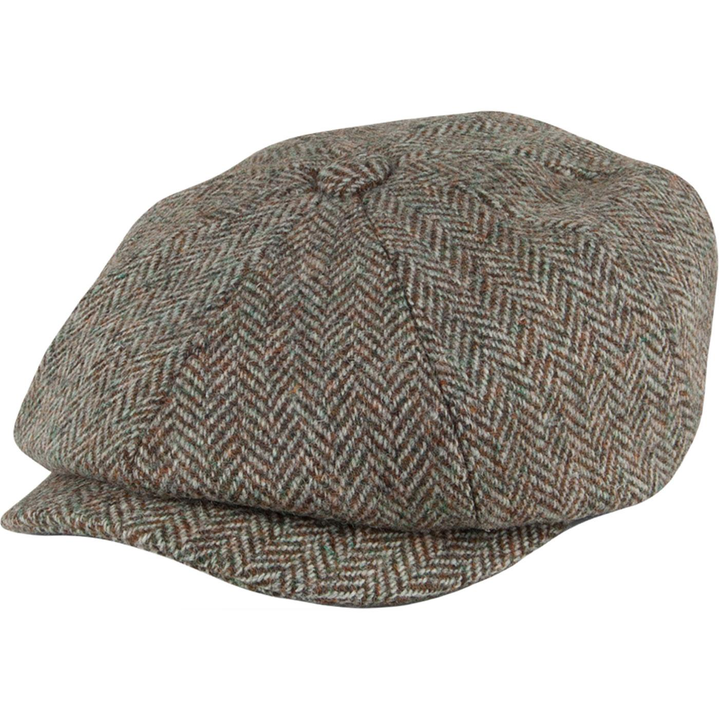 FAILSWORTH Carloway Harris Tweed Gatsby Cap in Grey 34c7cc2da8d