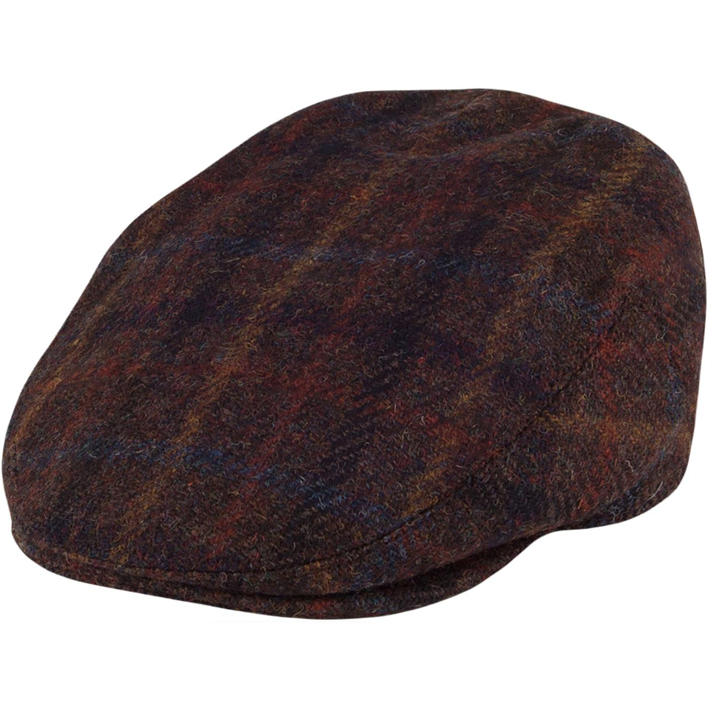 FAILSWORTH Stornoway Harris Tweed Flat Cap - BROWN