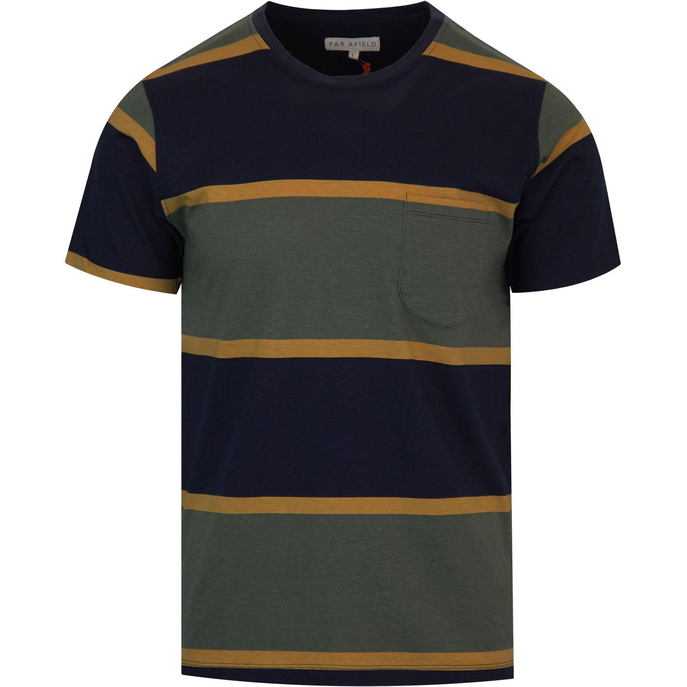 FAR AFIELD Dos Stripe Retro Mod Tee (Beatle Green)