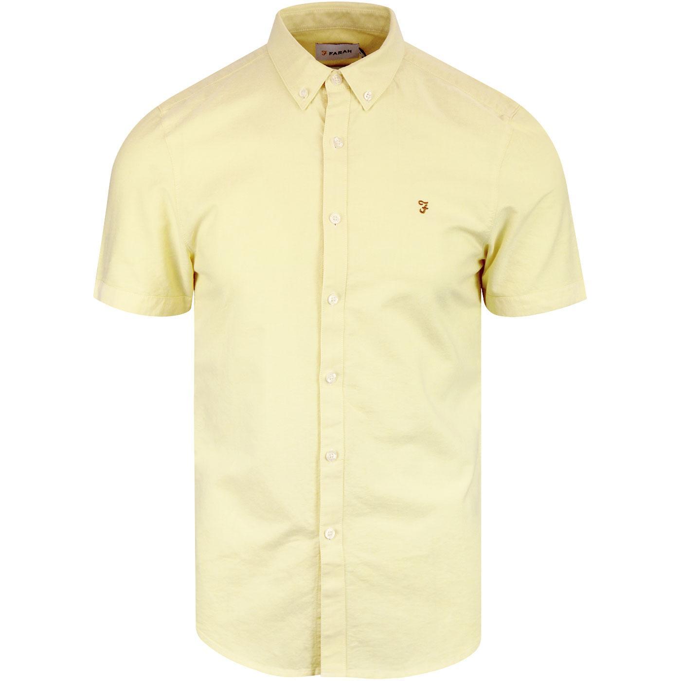 Brewer FARAH Slim Mod S/S Oxford Shirt ACID YELLOW
