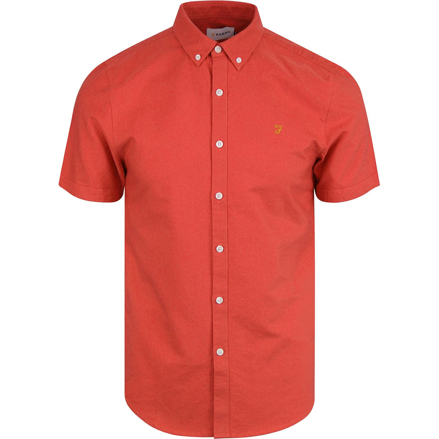 Brewer FARAH Slim Retro S/S Oxford Shirt RED COAT