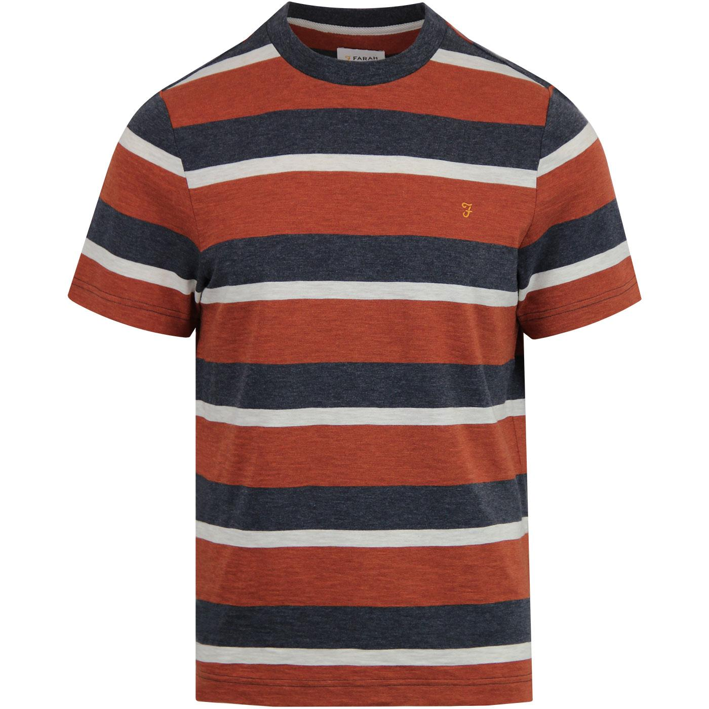 FARAH Mens Retro Mod Celtic Stripe Marl Tee (Rust)