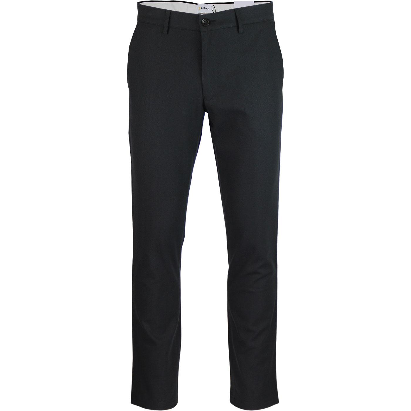 Elm FARAH Retro Mod Slim Hopsack Trousers (Black)