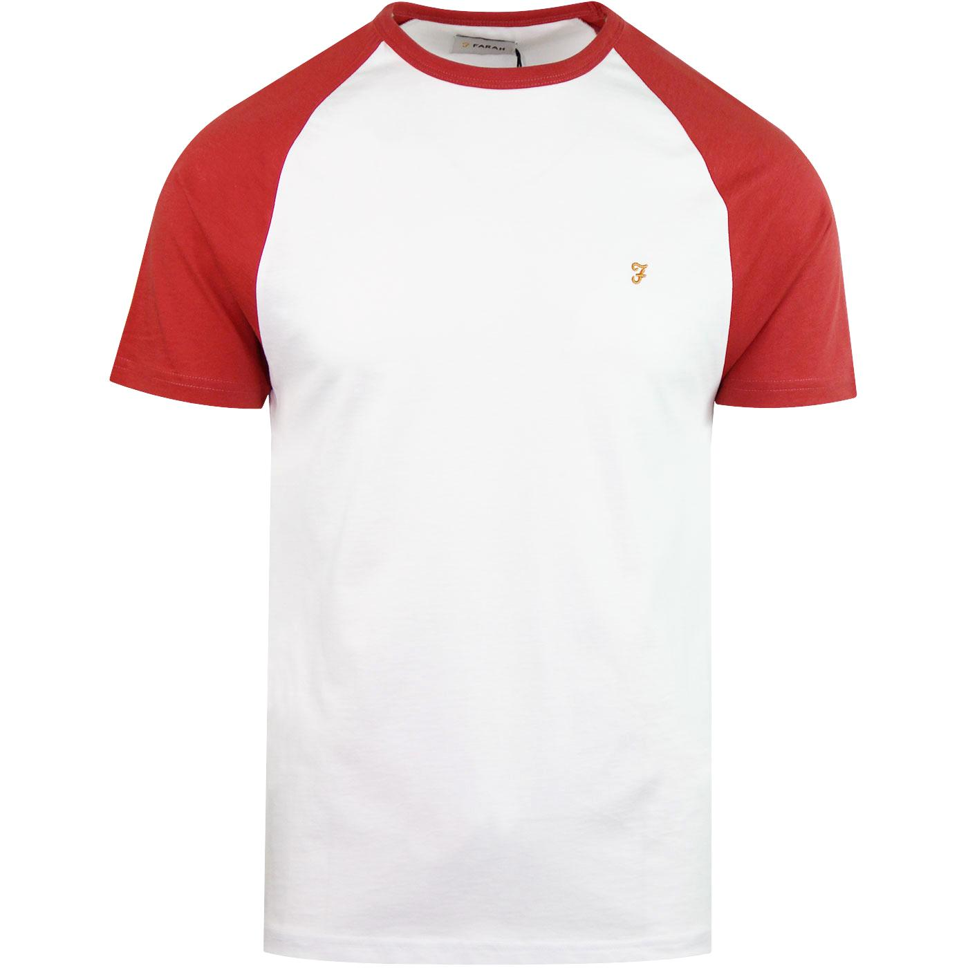 Zemlak FARAH Retro 80s Raglan Baseball T-Shirt RED