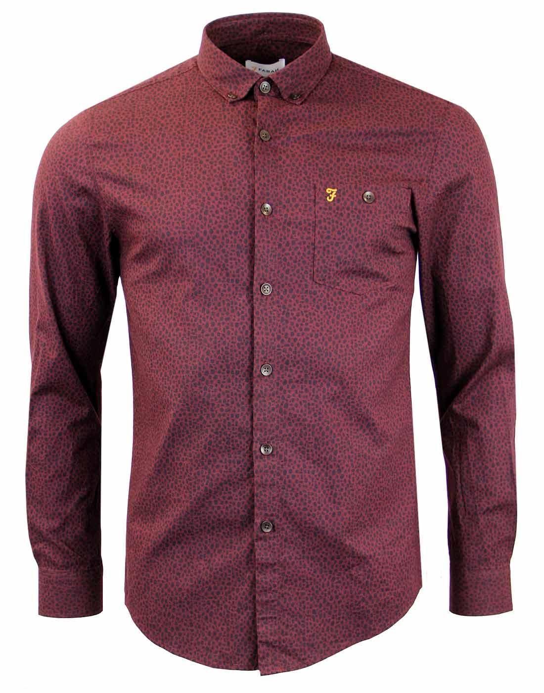 FARAH VINTAGE Penrith Leopard Print Retro Shirt