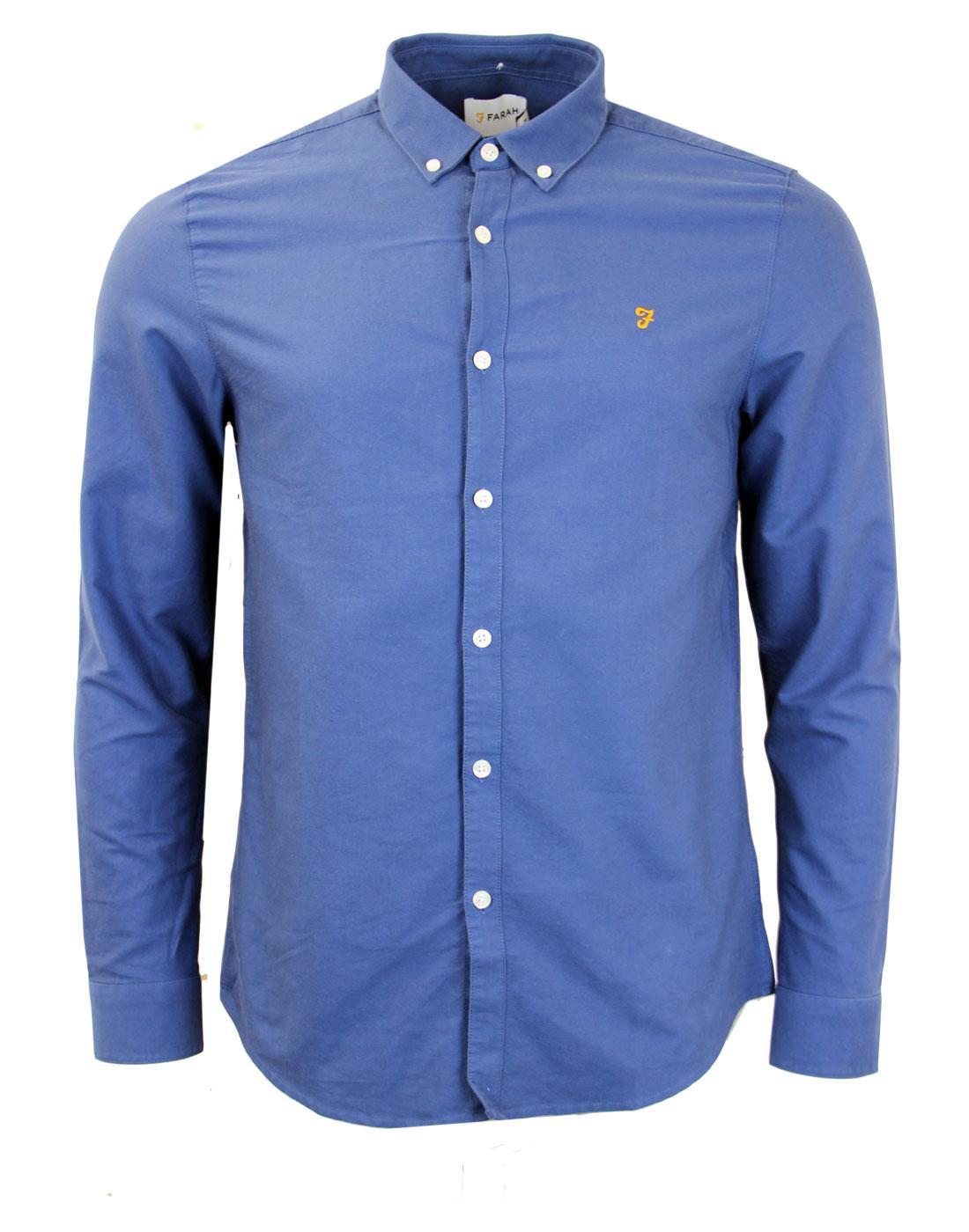 Brewer FARAH VINTAGE Retro 60s Mod Oxford Shirt DB