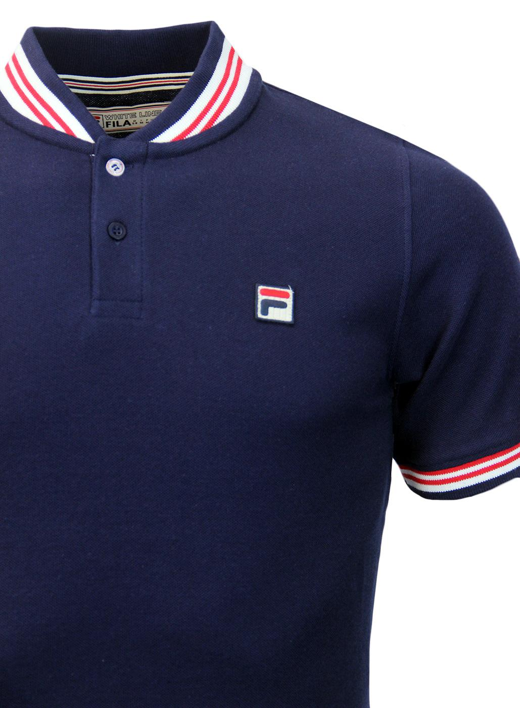 a897fa3dbf FILA VINTAGE Skipper Retro Seventies Pique Polo in Peacoat/Garden